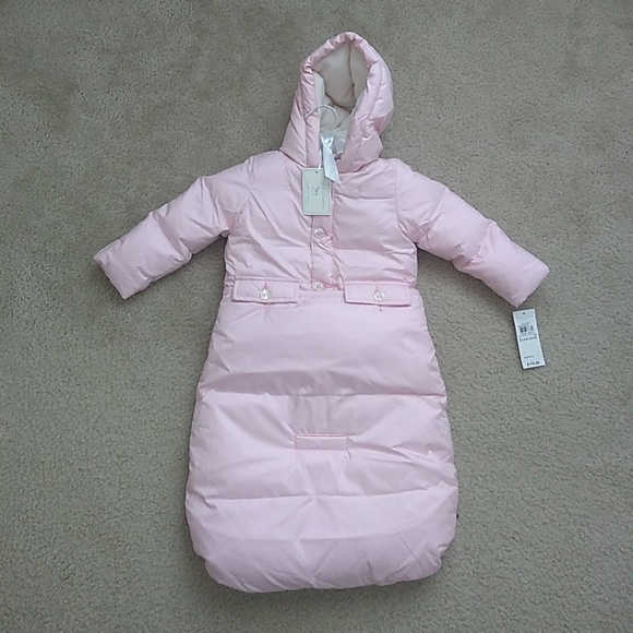 NWT Ralph Lauren Girls Hooded Purple Quilted Down Jacket Coat 9m 12m 18m NEW